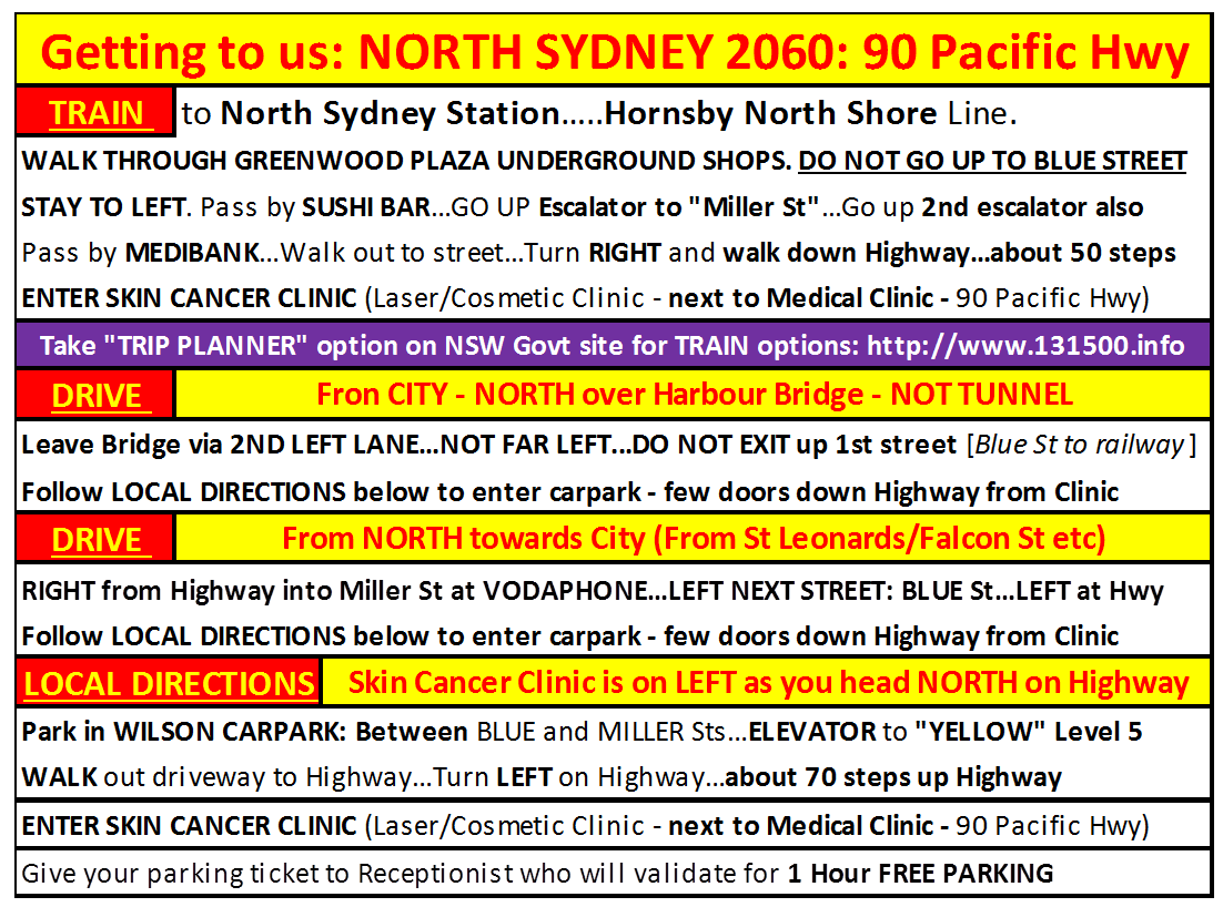 GET TO NORTH SYDNEY CLINIC